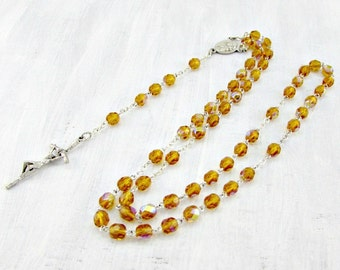 Vintage Pope John Paul II Rosary Necklace, Orange Glass Crystal Rosary Necklace, Silver Catholic Rosary Necklace, 1980s Christian Jewelry