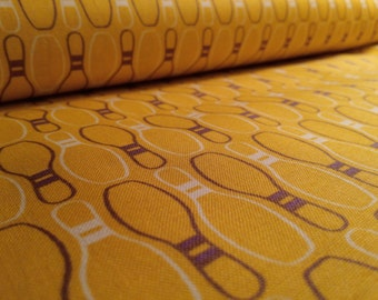 Bowling Pins...strike...spare...split...by the yard...yellow...mustard...43/44 inches...bowling shirt...bowling night...quilters cotton.