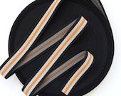 "1 1/2"" Orange, Grey and Black Stripes Stretch Elastic Band"
