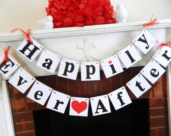 HAPPILY EVER AFTER Wedding Banner - Rustic Wedding Decorations - Wedding Car Sign - Bridal Shower Decor -You Pick the Colors