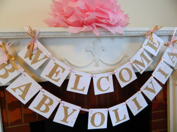 Welcome baby banner baby shower decor nursey decor pink for Welcome home new baby decorations