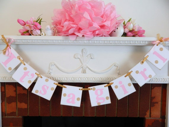 gold and pink baby shower decorations its a girl banner birth