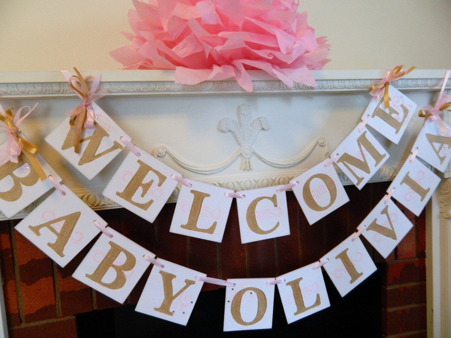 Welcome baby banner baby shower decor nursey decor pink for Welcome home decorations ideas