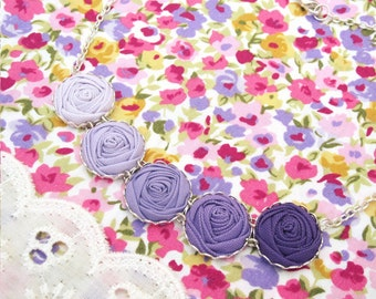 Radiant Orchid Fabric Flower Necklace - Purple Roses Necklace - Bridal Necklace