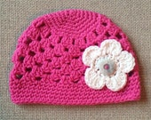 Spring Sunshine Beanie with 3 Interchangeable Flowers (Toddler, Child, & Youth/Adult sizes) - knit, hat, cloche, baby, newborn, photo