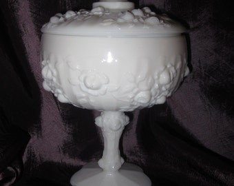 Vintage Cottage chic Fenton Rose Wedding White/Milk Glass footed Lid Compote