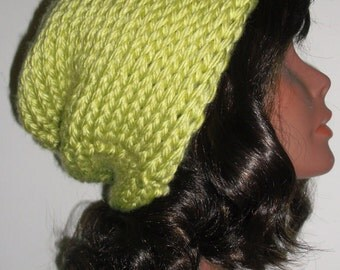 The Urban Slouch Hand Knitted Hat in LEMONGRASS