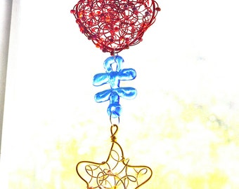 Wire Hand Knitted Heart and Star Christmas Ornament/ SunCatcher  Lamp Work Glass Puzzle Piece Autism Speaks Donation