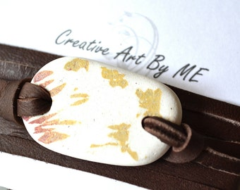 Deerskin Leather and English Beach Pottery wrap Bracelet/Necklace