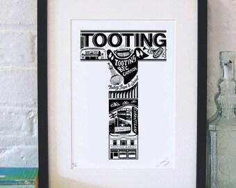 Best of Tooting  - London print - London poster - London Art - Typographic Print - London illustration - letter art - South London poster
