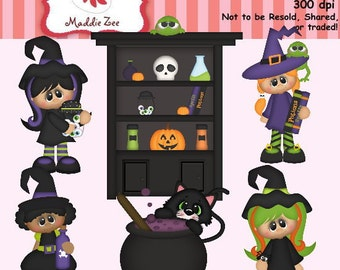 Halloween Spooky Forest Witch Crew 1 Clipart (Digital Download)
