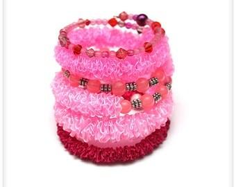 Chunky PINK Ribbon Bracelet, 6 loops