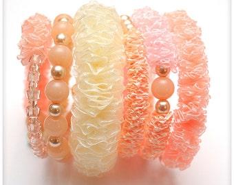 Chunky PALE PINK organza and satin Ribbon Bracelet, 6 loops