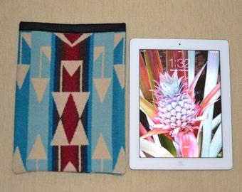 iPad Sleeve iPad Case iPad Cover - iPad won't slip out - blanket weight wool from Oregon - BIG THUNDER robins egg blue Native American print