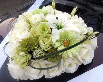 Heart Of Silk Roses Wedding Car Decoration Flower Arrangement