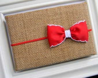 Red Bow Headband - Christmas Bow Headband - Baby Red Bow - Baby Bow Headband