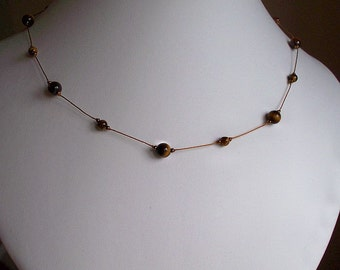 Gold Tiger Eye Necklace ~ Golden Brown Necklace
