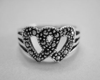 Intertwined Marcasite Hearts, Vintage Ring, Sterling Silver 925, Size 6.5, Valentine's Day SALE ITEM