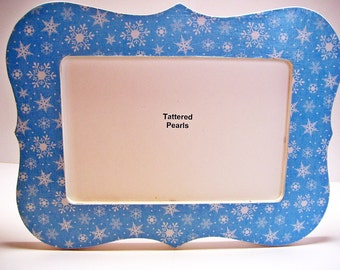 Snowflakes Decoupaged Wood Picture Frame