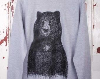 Big Bear Jumper -cool bear jumper men's black bear sweater gift for him unisex bear top