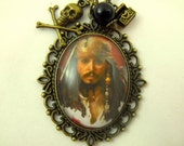 Bronze Pendant Necklace,  Captian Jack Sparrow Glass Pendant Necklace With Black Pearl And Charms  Womens Gift  Handmade