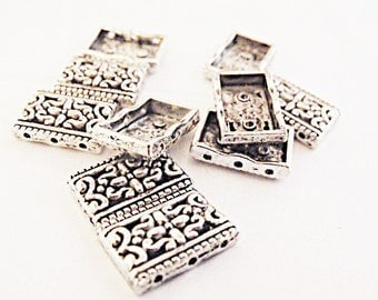 Silver 3 Hole Spacer Bars,  Lot Of 10,  Jewelry Making Supplies