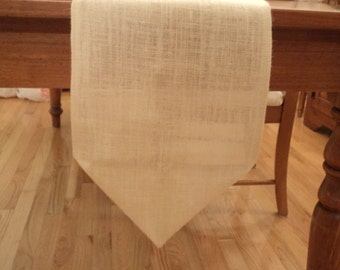 Hemmed Burlap Table Runner with Pointed Ends Simple and Elegant Table Runner