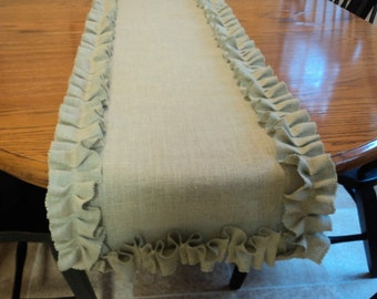 Sage Green Burlap Table Runner Shabby Chic Home Decor Pick Your Color And  Size