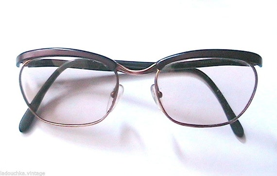 French 1940s Woman Pin Up Clubmaster Eyeglasses Frame Gold