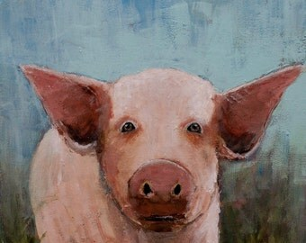 WHIMSICAL Farm Animal PIG Giclee Print on Gallery Wrapped CANVAS Stretched, Signed and Ready to Hang