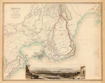 1839 Map of Syracuse, Italy