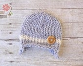 Wooly Knit Earflap Beanie with Wooden Button, Newborn Photography Prop, Gray with Cream Stripe
