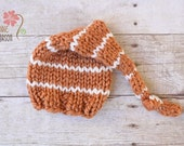 Striped Wooly Knit Sleepy Cap in Harvest and Cream, Newborn Photography Prop