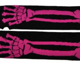 Punk Fingerless Gloves Pink Skeleton