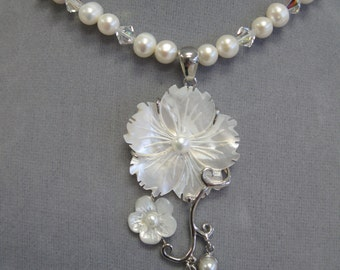 Freshwater pearl and Swarovski crystal floral bridal necklace