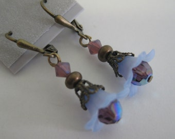 Purple and antique brass floral and Swarovski crystal earrings