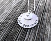 I Love You More Handstamped Necklace, Handstamped Necklace, Stamped Love necklace, I love you more