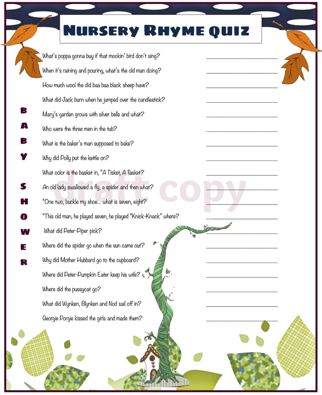 baby shower nursery rhyme quiz