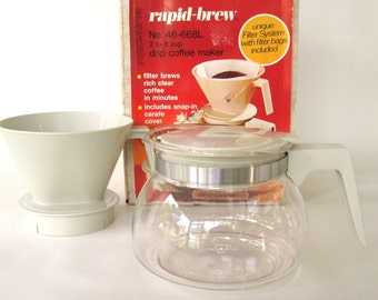 Drip Coffee Maker Glass Carafe Coffee Pot Rockline Rapid Brew NOS Deadstock 1980s Kitchen