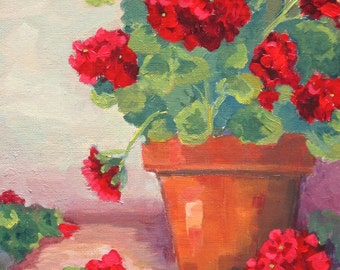 Original Painting Red Geraniums In Clay Pot