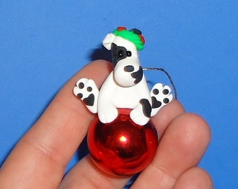 Polymer Clay White and Black Dog on Glass Ornament