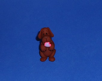 Polymer Clay Begging Chocolate Lab Dog with Valentine