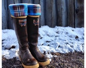 SLUGS Fleece Rain Boot Liners Turquoise Plaid, Socks, Fleece Socks, Winter Fall Fashion, Boot Cuff  (SM/MED)