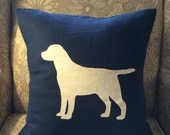 Lab pillow cover on navy linen fabric. 18x18""