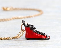Sneaker Necklace - Tiny Red Trainer Shoe Pendant on a Chain