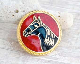 Horse Badge - Red and Black Enamel - Equastrian Lapel Pin