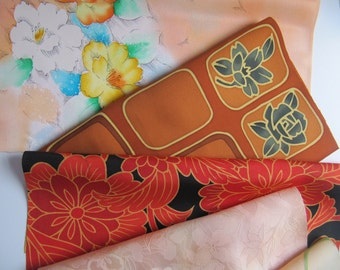 Craft pack of Japanese silk remnant pieces, vintage fabric, DIY creative fabric sets , button making, silk flowers, sewing supplies, set 2