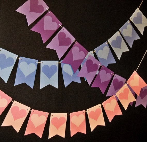 Heart Wedding Banner Valentine Bunting Photo Prop Anniversary Garland Christmas Baby Gender Reveal