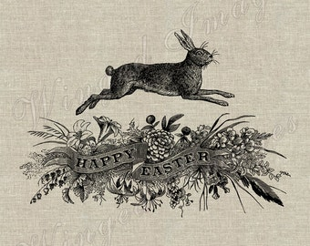 Happy Easter Bunny Instant Download Digital Image No.315 Iron-On Transfer to Fabric (burlap, linen) Paper Prints (cards, tags)