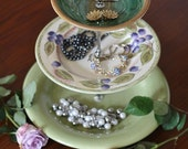 3 tier cake stand, fruit stand, jewelry stand. Green food stand